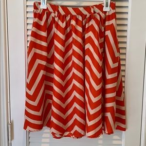 Xhilaration Chevron A frame skirt in red and tan